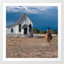 6c61233edb375 Western Cowboy Riding Horse To Church Art Print