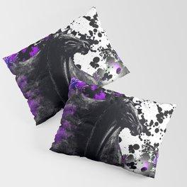 HORSE BLACK AND PURPLE THUNDER INK SPLASH Pillow Sham