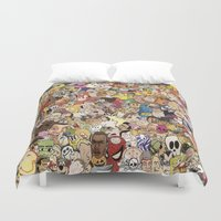 cartoon Duvet Covers featuring Cartoon Collage by Myles Hunt