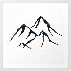 MOUNTAINS Black and White Art Print