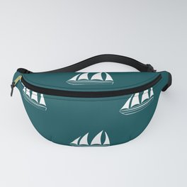 White Sailboat Pattern on teal blue background Fanny Pack