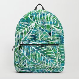 White and green leaves Backpack