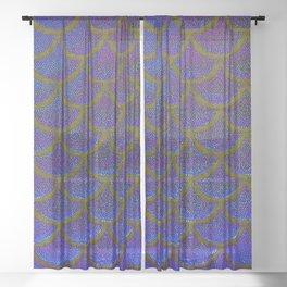 Dandelion Denim Scales Sheer Curtain