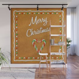 Merry Christmas Gingerbread Biscuit Wall Mural