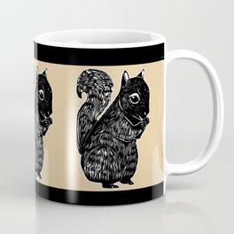 Black Squirrel Printmaking Art Coffee Mug