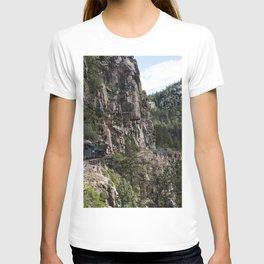 A Durango  Silverton Narrow Gauge Railroad (DSNG) above the Animas River Valley in La Plata County C T-shirt