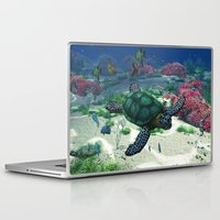 sea turtle Laptop & iPad Skins featuring Sea Turtle by Simone Gatterwe