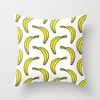 banana Throw Pillows featuring BANANA by Clove