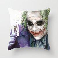 joker Throw Pillows featuring Joker  by Olechka