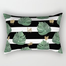 Tropical leaves pattern on stripes background Rectangular Pillow