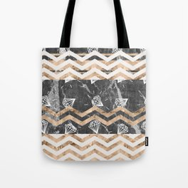 Gold, Black and White Marble Tote Bag