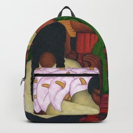 Calla Lilies in pink Flower Vendor at the Flower Festival floral portrait painting by Diego Rivera Backpack