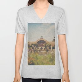 all the colours & curves of the botanical building in Balboa Park, San Diego Unisex V-Neck