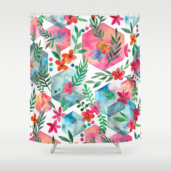 Whimsical Hexagon Garden On White Shower Curtain By Micklyn Society6