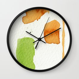 Orange and Green Abstract Art Wall Clock