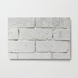 Wall texture white bricks Metal Print