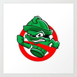 Cartoon Green trash can Art Print