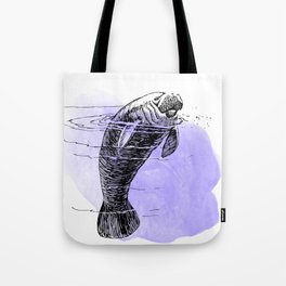 Purple Manatee Tote Bag