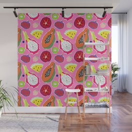 Seedy Fruits in Hot Neon Pink Wall Mural