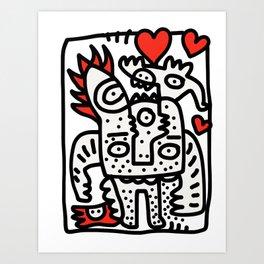 Spread Love Graffiti Art Black and White Red Heart  Art Print