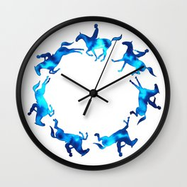 Showjumping Horse Sequence (Blue) Wall Clock