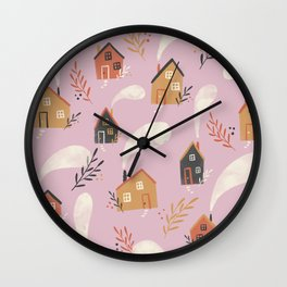 Little houses vintage fall pattern on pink background Wall Clock