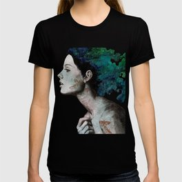 Moral Eclipse (colorful hair woman with moths tattoos) T-shirt