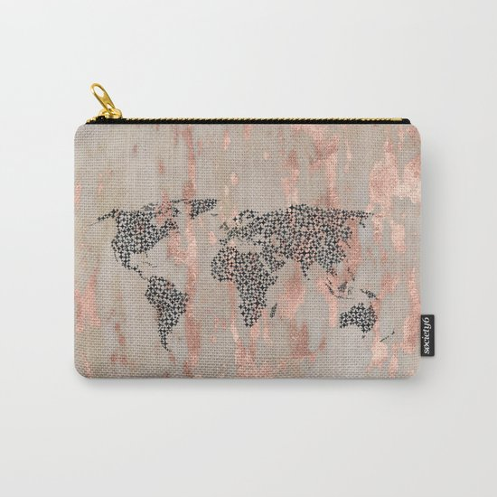 Star Map on Rose Gold Marble Carry-All Pouch
