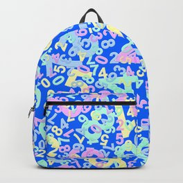 Modern Design with random colorful numbers with shadow edges on a blue background Backpack