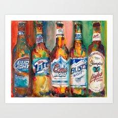 Bud light Miller Lite Coors Light Busch Light Yuengling Light Combo Beer Art Print Art Print
