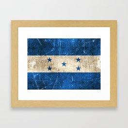 Vintage Aged and Scratched Honduras Flag Framed Art Print