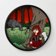 Little Red Riding Hood Versus Big Bad Wolf Wall Clock