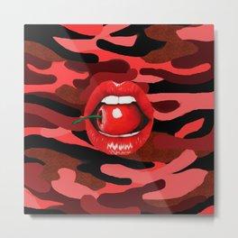 Cherry Lips Red Camo Metal Print