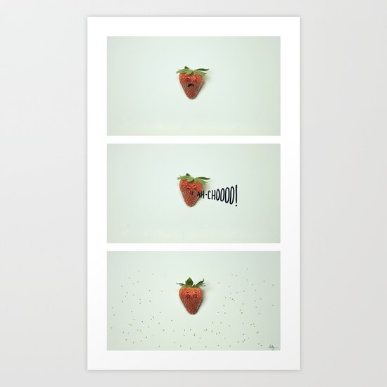 Strawberry Sneeze Art Print
