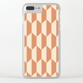 Classic Trapezoid Pattern 243 Ochre and Beige Clear iPhone Case
