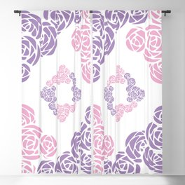 Purple and Pink Roses Doodle Art Blackout Curtain