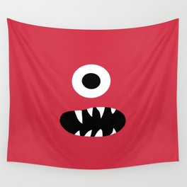 Kids Silly Red One Eyed Monster Wall Tapestry