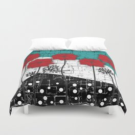 Applique. Poppies on turquoise black white background . Duvet Cover