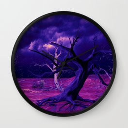 forest night sky clouds mystical Wall Clock