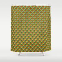 french fries Shower Curtains featuring burger vegetarian and french fries by fmppstudio