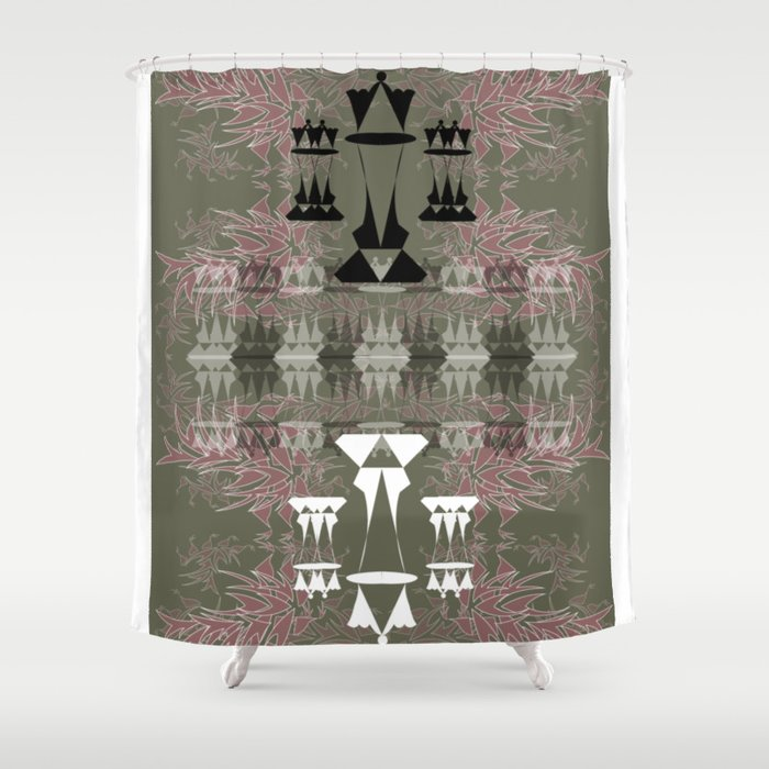 Reflective Queens Olive Green And Salmon Shower Curtain