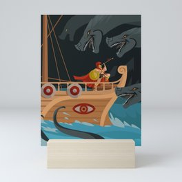 odysseus fighting Scylla and Charybdis Greek mythology monsters Mini Art Print