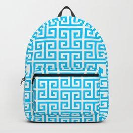 Aqua Blue and White Greek Key Pattern Backpack
