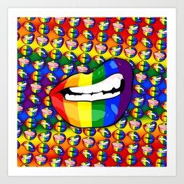 LGBTQ Rainbow Lips Snarl Art Print