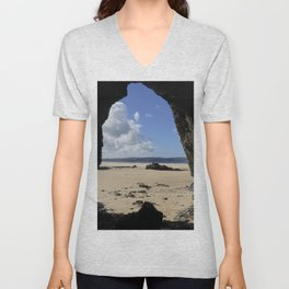 Cave at Gwithian Unisex V-Neck