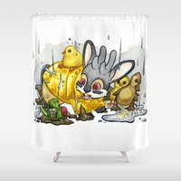 jackalope Shower Curtains featuring April Jackalope by JoJo Seames