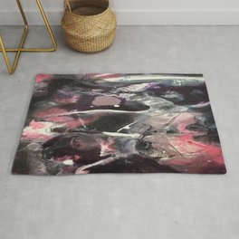Pink and Black Original Abstract Painting by JodiLynpaintings. Splatter Abstract Pink Black Rug