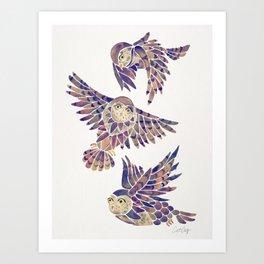 Owls in Flight – Mauve Palette Kunstdrucke