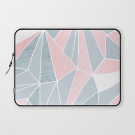 Cool blue/grey and pink geometric prism pattern Laptop Sleeve
