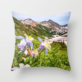 High Country Summer Wildflowers Crested Butte Colorado Mountain Landscape Throw Pillow